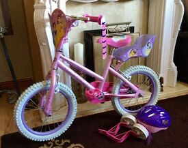 "Girls 16"" Disney bike, never been used, comes with helmet and stabilisers"