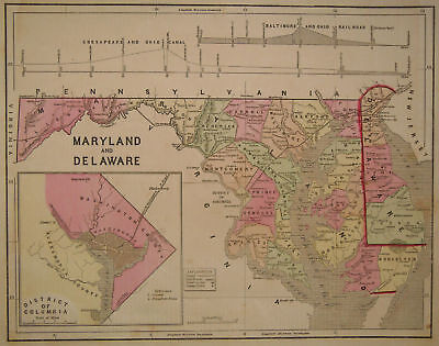 1856 Genuine Antique map of Maryland & Delaware. by C. Morse