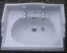 """Ceramic Sink """"Imperial bathroom Co.""""Oblong Classic Plus Chrome Taps/ Pipe Fittings & Local Delivery"""