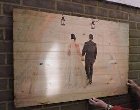 Image transfer on wood. Personalised present for wedding anniversary, birthday...etc