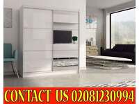 Two Door Sliding High Gloss WhiteBlack Wardrobe