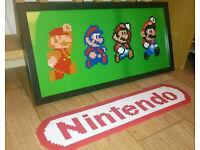 Details about Super Mario Pixel Art Generations Framed Hama Perler Nintendo Evolution Switch