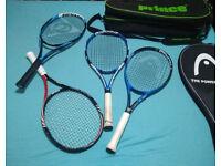 4 Tennis Racquets and a 3 Racquet bag (Wilson, Babolat, Head, Dunlop) for sale  Southside, Glasgow