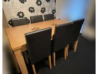 DINING TABLE WITH 6 DARK GREY CHAIRS