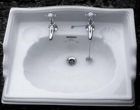 White Ceramic Sink Imperial bathroom Company Oblong Classic Ornate Plus Chrome Taps & Pipe Fittings