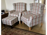 Pair Wingback Armchair plus matching footstool
