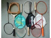 6 vintage badminton rackets