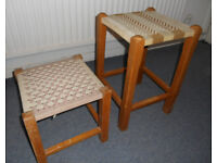 2 Stools with Woven Seats - £8 and £6