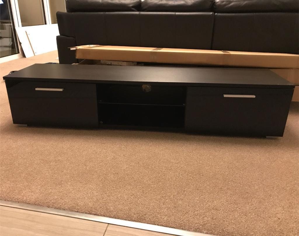 led black tv unit long tv stand cabinet for ps xbox one dvd  - led black tv unit long tv stand cabinet for ps xbox one dvd player etc