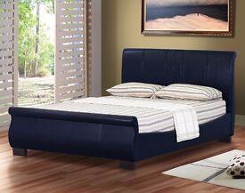 Stylish Sleigh Design Leather 5FT Kingsize Bed Frame Bedroom Furniture