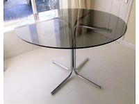 Mid Century 1960 / 1970's round smoked plate glass top Dining Table