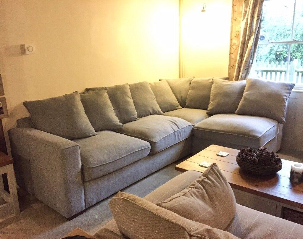 Furniture Village Dune Fabric Corner Pillow Back Sofa With Footstool