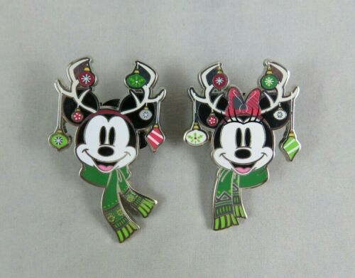 Disney WDW 2 Pin Set - Christmas Holiday 2019 - Mickey and Minnie Mouse Antlers