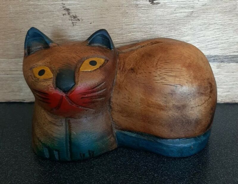 Wood CARVED Cat