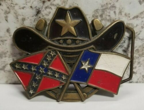 1982 Vintage Baron Texas Flags Solid Brass Belt Buckle