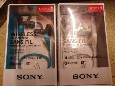 Sony MDR-AS600BT Bluetooth Sports wireless headphones White and Blue NEW SEALED