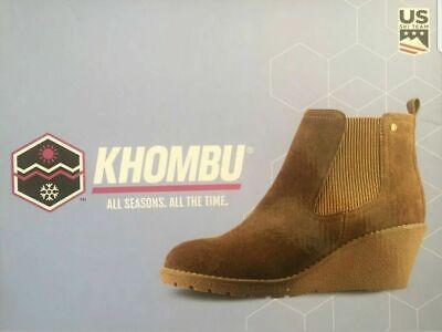 "Khombu ""Liz"" - Memory Foam Suede Leather Wedge Ankle Boots - Chestnut UK 4"