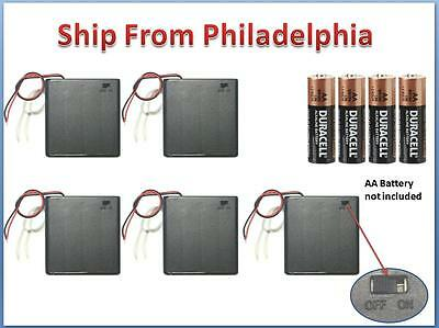5 Pcs 4 AA Cells Battery 6V Clip Holder Box Case with Switch Black