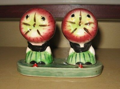 Vintage Ceramic Apple People Salt and Pepper Shakers With Tray