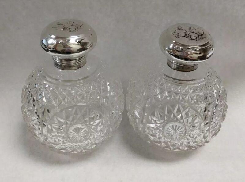 Pair of 1905 Henry Matthews Sterling Silver Cherub Cut Glass Perfume Bottles