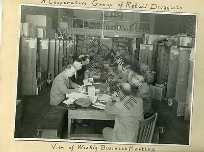 Antique 1928 Matted Photo   Retail Druggists Men Business Meeting Group 10X12