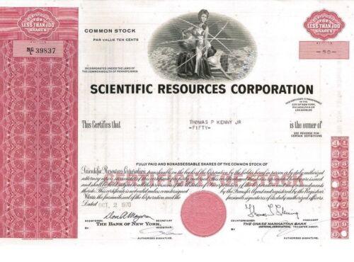 Scientific Resources Corporation > 1970 Pennsylvania old stock certificate share