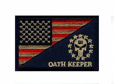 Three 3% Percenter Oath Keeper Punisher USA Flag Morale Hook Patch (TP3) ](Oath Keeper)