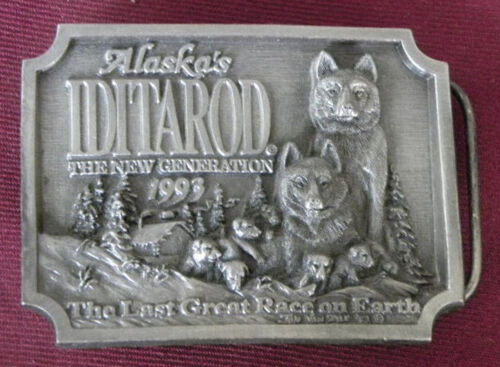 Vintage 1993 Alaska Iditarod Dog Sled Race Belt Buckle Pewter Bergamot