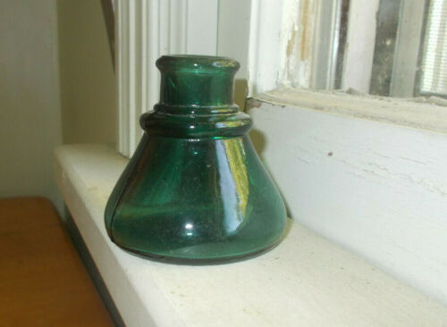 BEAUTIFUL DEEP TEAL BLUE-GREEN 1880s CONE INK BOTTLE GREAT COLOR SHINY NICE