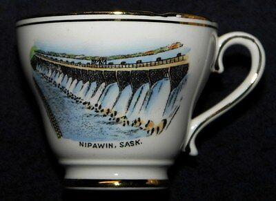 NIPAWIN SASKATCHEWAN DAM SOUVENIR CHINA CUP ROYAL ASCOT BONE CHINA CA 1963