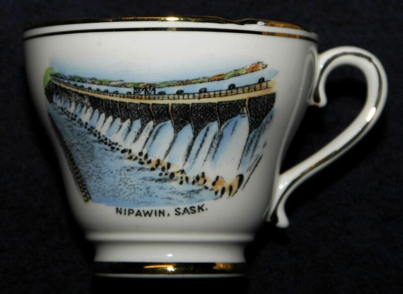 NIPAWIN SASKATCHEWAN DAM SOUVENIR CHINA CUP ROYAL ASCOT BONE CHINA CA 1963