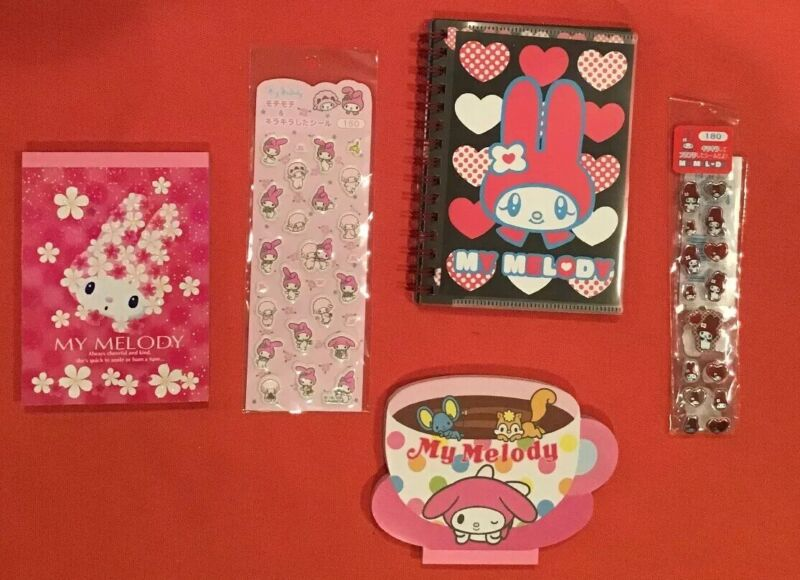 SANRIO MY MELODY 5 ITEM LOT Memo Pad Notepad Stickers