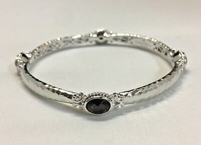 Gabriel & Co bangle 925 sterling silver, four brown stones
