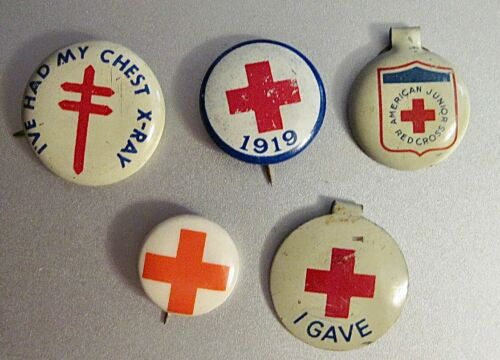 Lot of 5 Vintage Original American Red Cross Pins - Blood Drive - Chest X-Rays