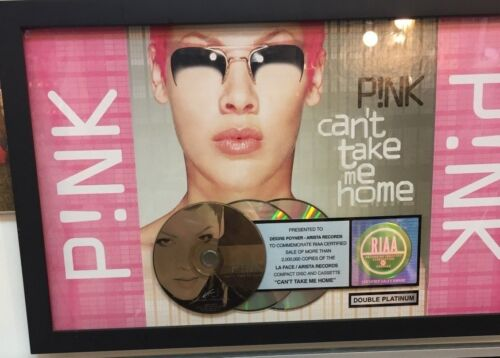 "PINK RIAA Compact Disc Certified Double Platinum Sales Award ""Cant Take Me Home"""