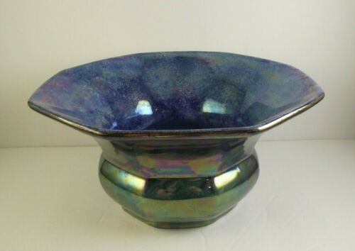 Maling Ceramic STORM Pattern Bowl Iridescent Blue England   (item#a2)