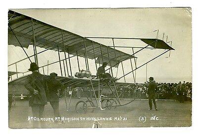 Aviation Postcard Mr Gilmour Mr Morison Hove Lawns Brighton Sunday May 21 1911