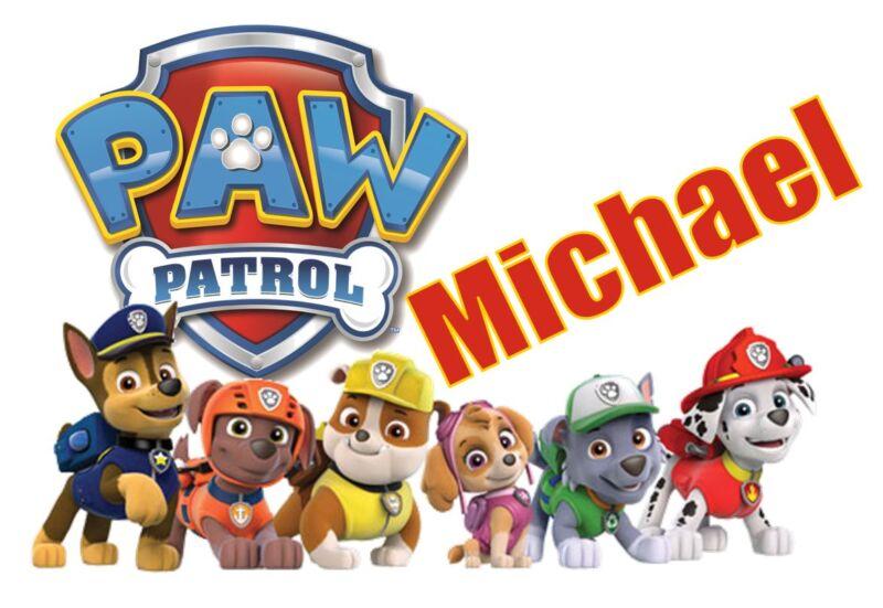 "Paw Patrol Personalized Iron On Transfer 5x7.25"" LIGHT Colored Fabrics"