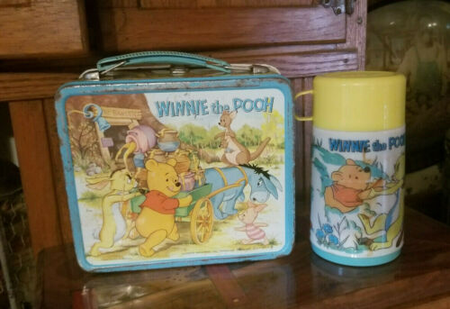 Vintage 1960s Winnie The Pooh Metal Aladdin Lunchbox With Thermos