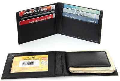 Men Genuine Leather Wallet Magnetic Money Clip Slim Credit Card ID Holder Black