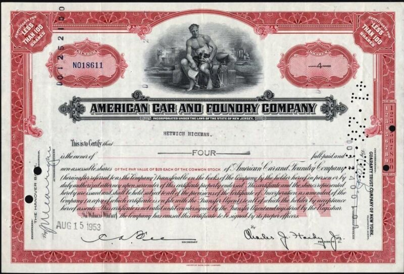 AMERICAN CAR AND FOUNDRY CO STOCK CERTIFICATE