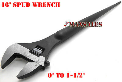 16 Adjustable Spud Wrench Tapered Handle For Aligning Bolts