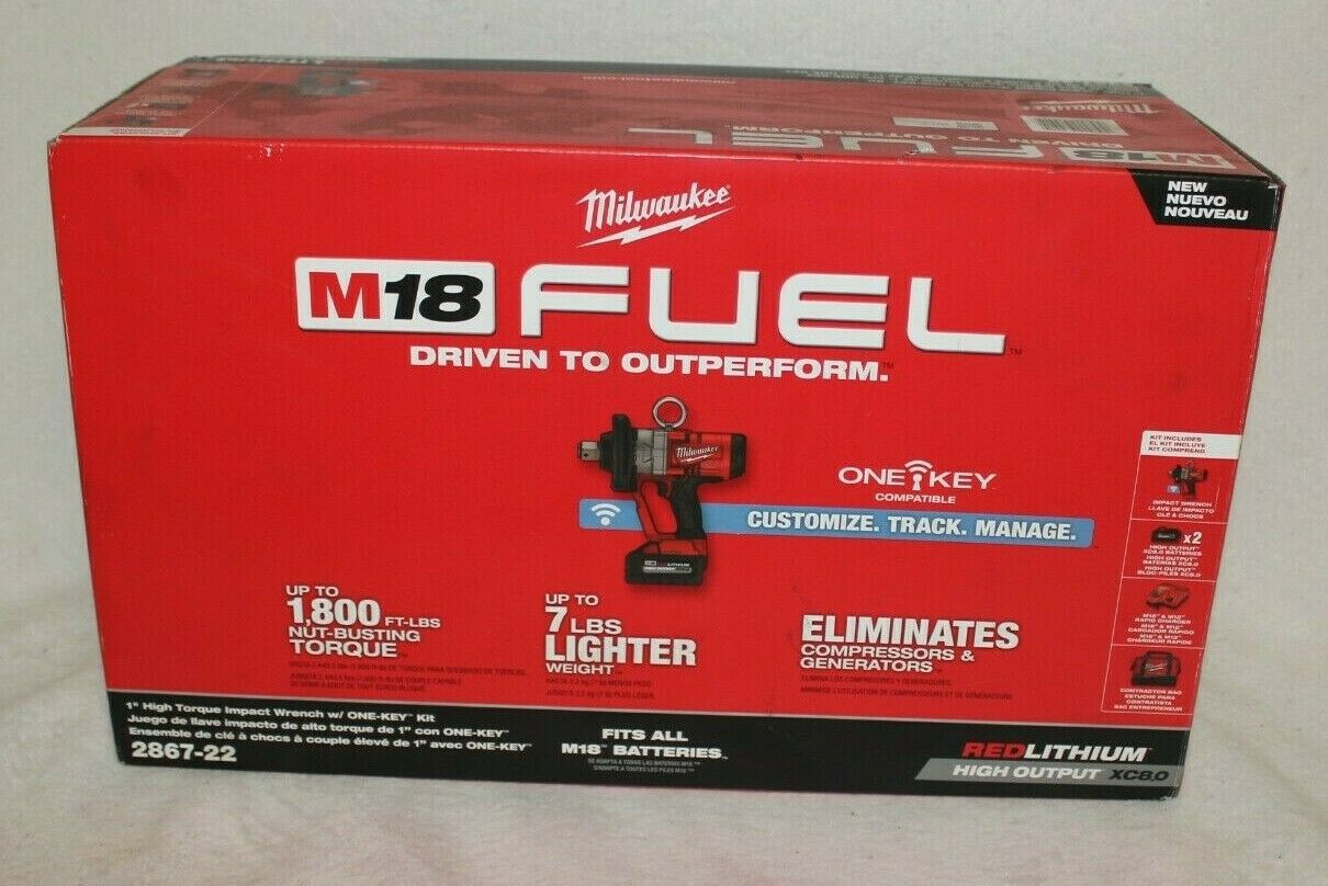 Milwaukee 2867-22 M18 FUEL 1in High Torque Impact Wrench W/One-Key Kit W/2 Batts - $949.95