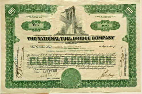 The National Toll Bridge Company 1929 stock certificate