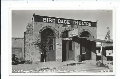 Real Photo Postcard Post Card Tombstone Arizona Az Bird Cage Theatre