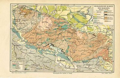 Geologische Karte des HARZ 1887 Original-Graphik