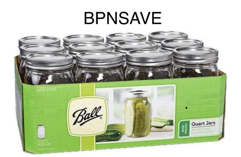 12 Pack Ball Mason Canning Jars Clear 32 Oz Quart Lids Bands Wide Mouth Glasses