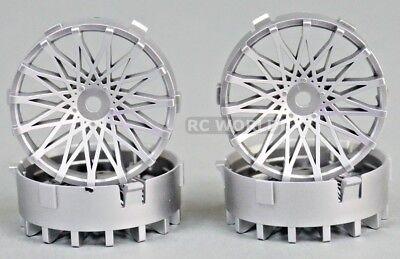 Tetsujin DAHLIA Mesh RC Car 1/10 Wheels SILVER Adjustable Offset 3-6-9mm -4 RIMS