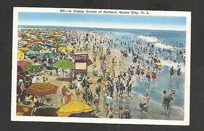 Happy Crowd Of Bathers, Atlantic City New Jersey Vintage Postcard Unused