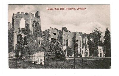 Old Postcard BANQUETTING HALL WINDOWS COWDRAY Midhurst West Sussex UK